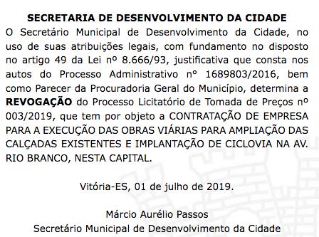 RIO BRANCO LICITAÇÃO REVOGADA