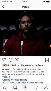 Neymar grava série  'La Casa de Papel'. Reprodução Instagram