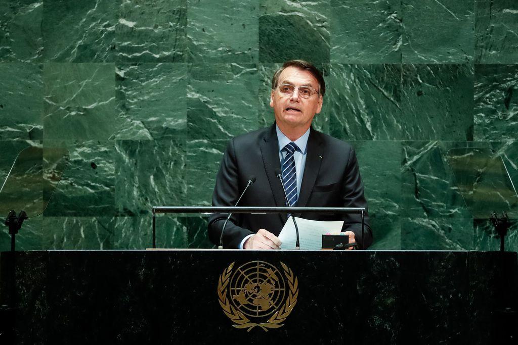 Presidente da República, Jair Bolsonaro, discursa durante a abertura do Debate Geral da 74ª Sessão da Assembleia Geral das Nações Unidas. Foto: Alan Santos/PR