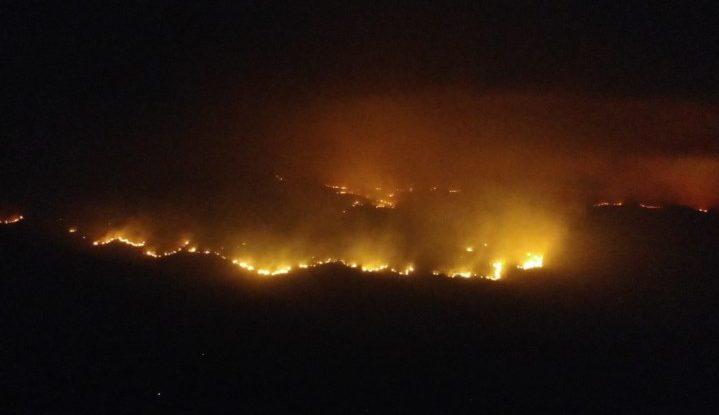 Visão noturna do incêndio que se espalha pelo Parque Nacional da Chapada dos Veadeiros, em Goiás. Segundo voluntários, o fogo já queimou cerca de 6,5 mil hectares. Foto: Corpo de Bombeiros Militar do Estado de Goiás