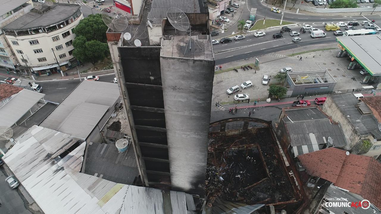 Vila Rubim: perícia iniciada nesta terça-feira (24) contou com a ajuda de drones. Foto: Sesp/Divulgação