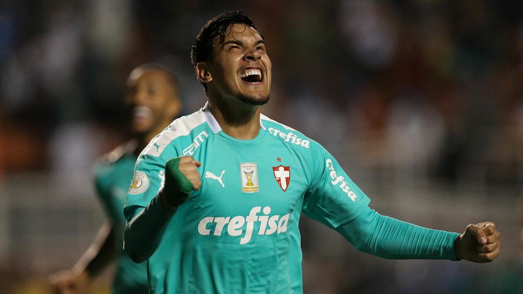 O jogador Gustavo Gómez comemora seu gol contra a equipe do CSA na goleada alviverde por 6 a 2. Foto: Divulgação/Sociedade Esportiva Palmeiras/Flickr