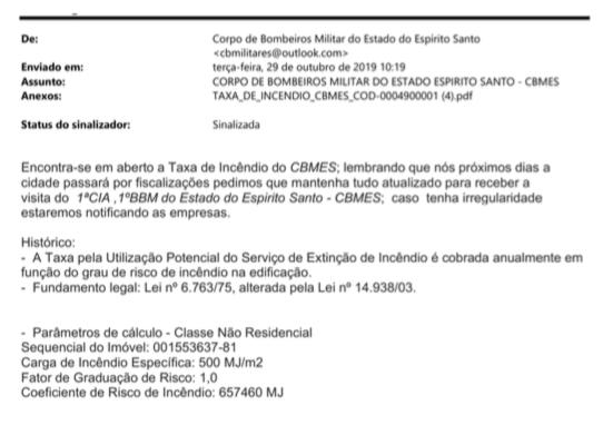 Falso e-mail de cobrança de taxa enviado no Espírito Santo. Foto: Reprodução