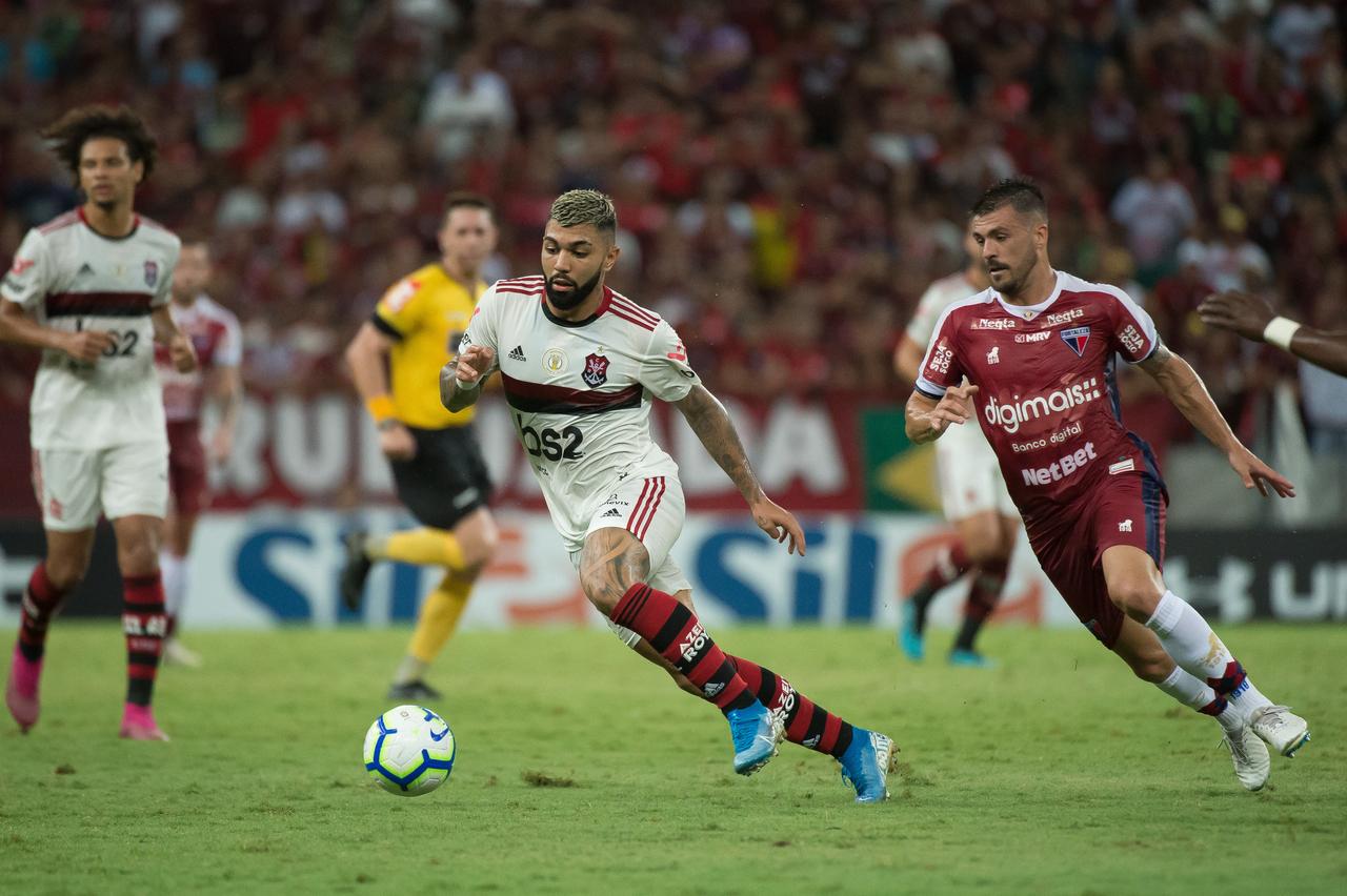 Bruno Melo abriu o placar para o Fortaleza aos 15 do segundo tempo. Gabigol empatou aos 37, e Reinier ampliou, aos 43 minutos. Foto: Alexandre Vidal / Flamengo