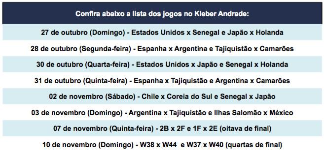 Ingressos estão à venda para a Copa do Mundo Sub-17 no Kleber Andrade. Foto: Reprodução/Diário Oficial