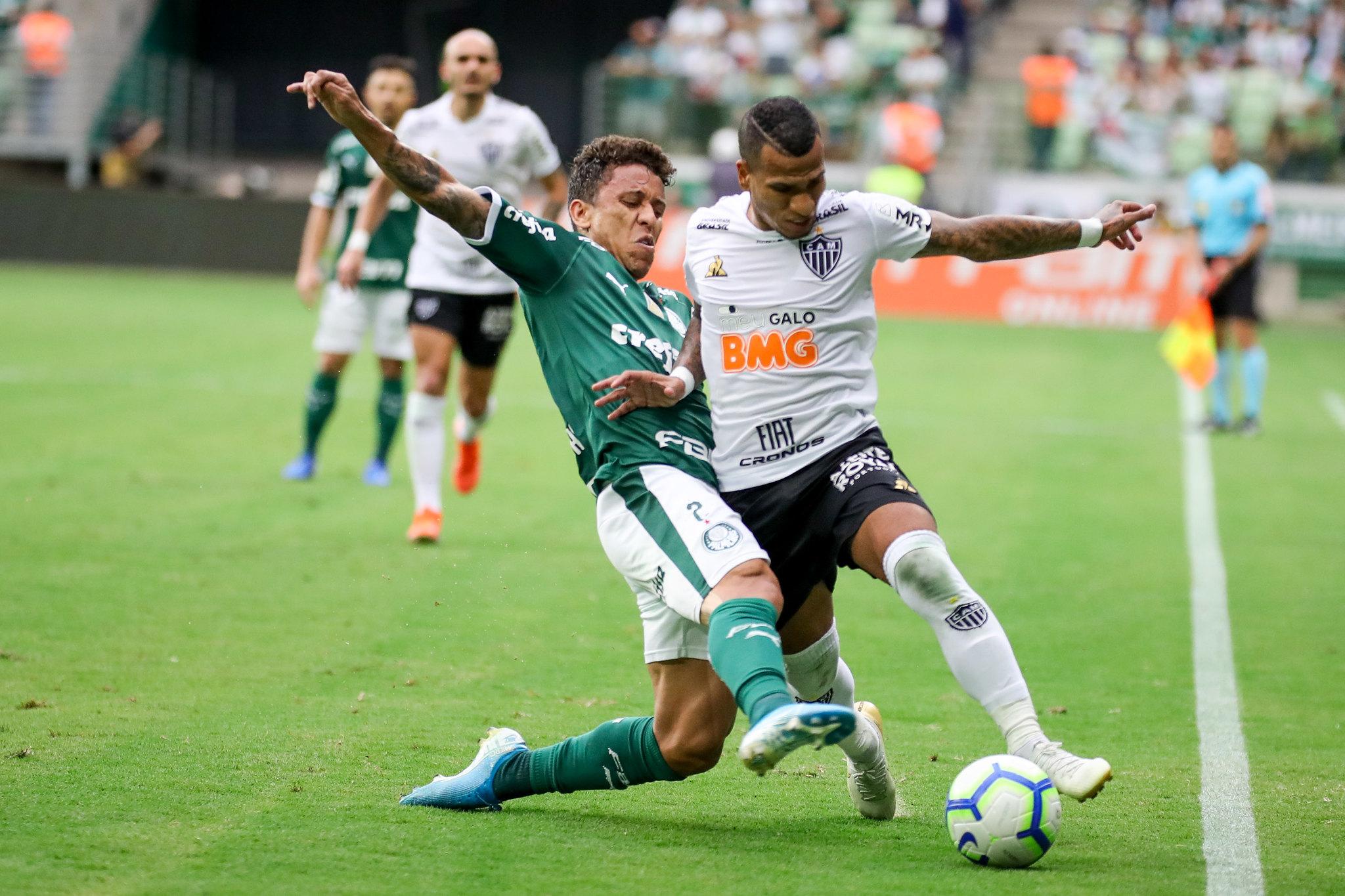 Nathan abriu o placar para a equipe mineiras aos 47 minutos do primeiro tempo. O empate do Palmeiras veio apenas no final da da segunda etapa com Dudu, aos 37 minutos. Foto: Bruno Cantini / Atlético