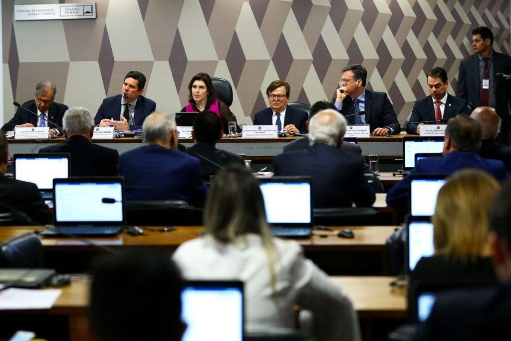 O ministro da Justiça e Segurança Pública, Sergio Moro, durante audiência Pública na comissão de constituição e justiça do Senado. Foto: Marcelo Camargo/Agência Brasil