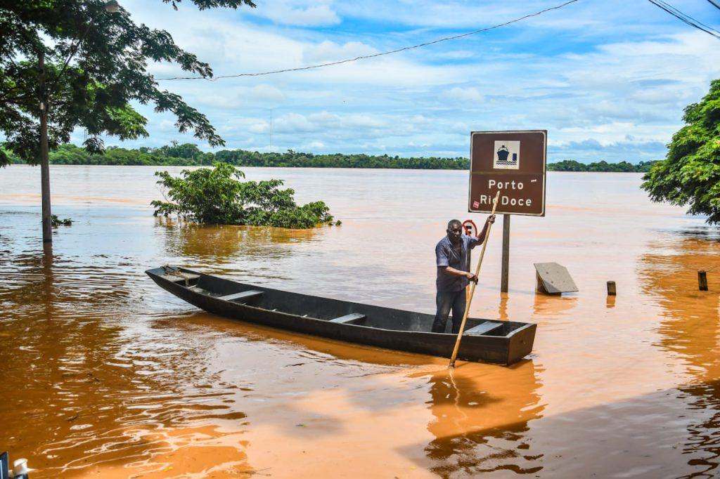 Nesta quarta-feira, o Rio Doce baixou em Linhares e marcou 5,53 cm acima do nível normal. Foto: Divulgação/Prefeitura de Linhares