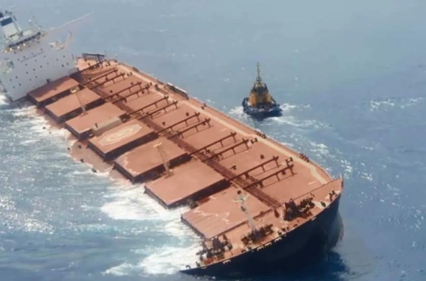 Marinha confirma vazamentos em navio com minério de ferro da Vale. Foto: Reprodução/TV Globo