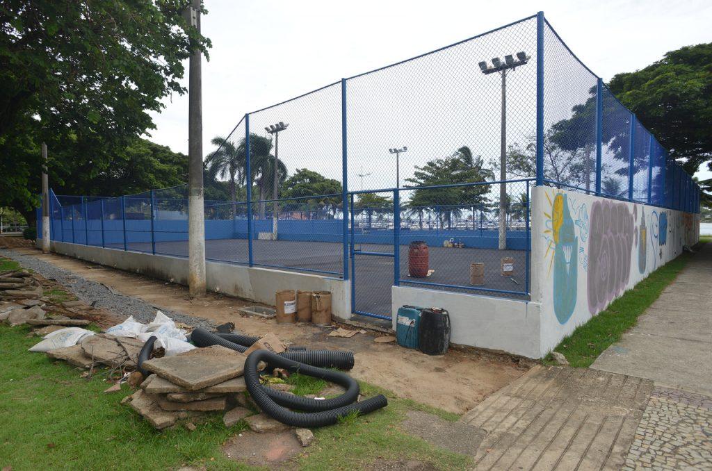 Reforma da quadra de tênis da Praça dos Namorados, em Vitória. Foto: Chico Guedes
