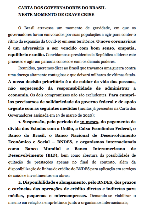 Coronavírus - Carta dos governadores 01