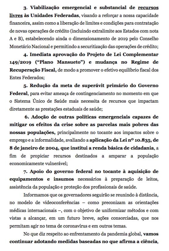 Coronavírus - Carta dos governadores 0