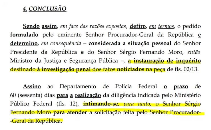 Trecho da decisão do ministro Celso de Mello. Foto: Reprodução