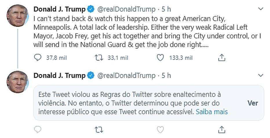 O presidente dos Estados Unidos, Donald Trump, teve comentário limitado pelo Twitter. Foto: Reprodução/Twitter