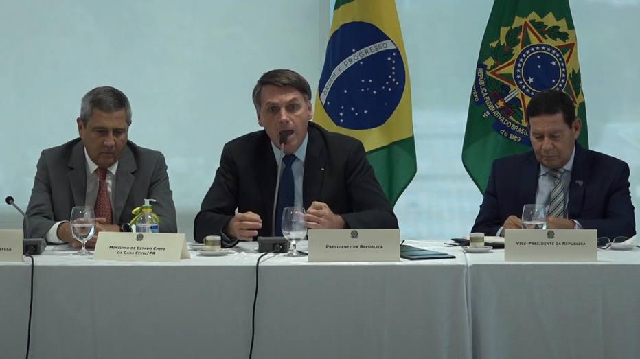 Presidente Jair Bolsonaro durante a reunião ministerial do dia 22 de abril. Foto: STF/Reprodução