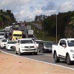 O protesto causou trânsito na BR-101, sentindo Norte. Foto: Ouvinte BandNews FM