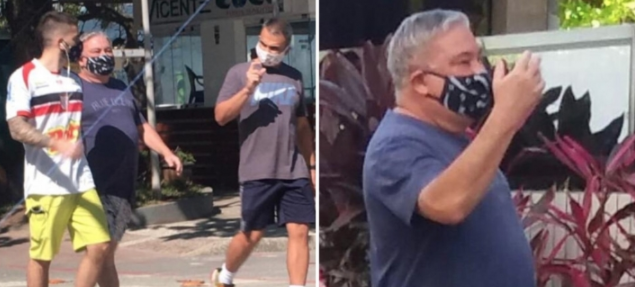 Desembargador Eduardo Siqueira, que humilhou guarda municipal e rasgou autuação por estar sem máscara, é flagrado usando EPI. Foto: Reprodução