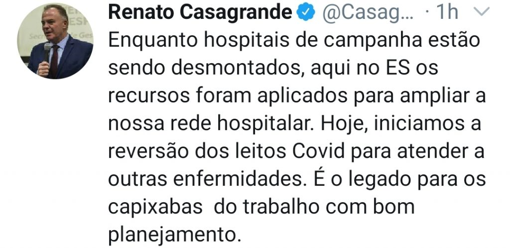 Renato Casagrande anuncia que leitos para covid serão revertidos para outras doenças. Foto: Reprodução/Twitter