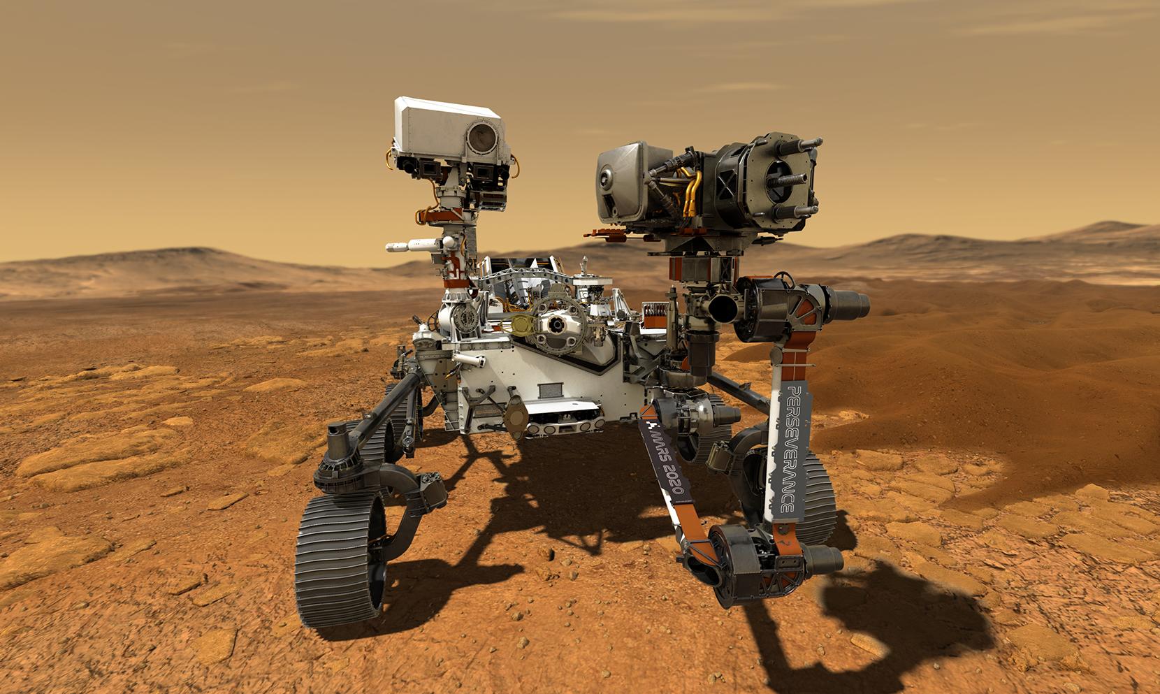 """O robô Perseverance deve tocar a superfície do """"planeta vermelho"""" em 18 de fevereiro de 2021. Foto: NASA/JPL-Caltech"""