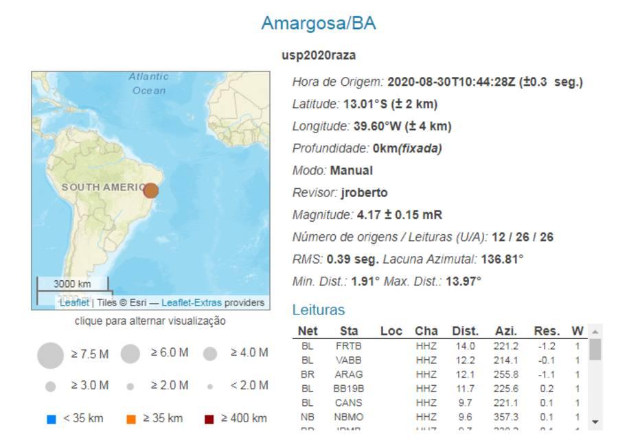 Abalos sísmicos na região de Amargosa registrados pelo Centro de Sismologia da Universidade de São Paulo (USP) Foto: Centro de Sismologia da USP