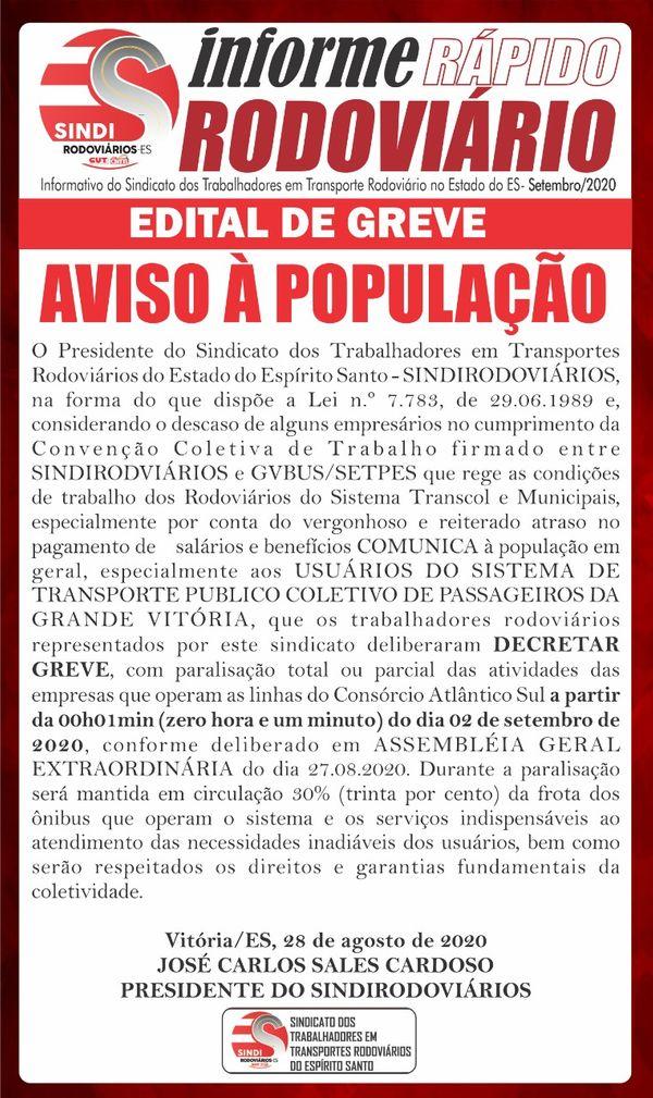 Edital de greve dos rodoviários da Grande Vitória. Reprodução/Facebook
