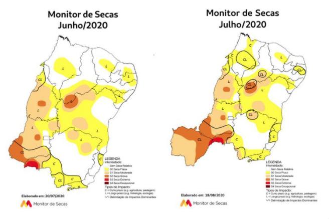 Monitor de Secas indica aumento das áreas com seca em sete estados e redução em quatro. Foto: Divulgação/Agência Nacional de Águas e Saneamento Básico (ANA)