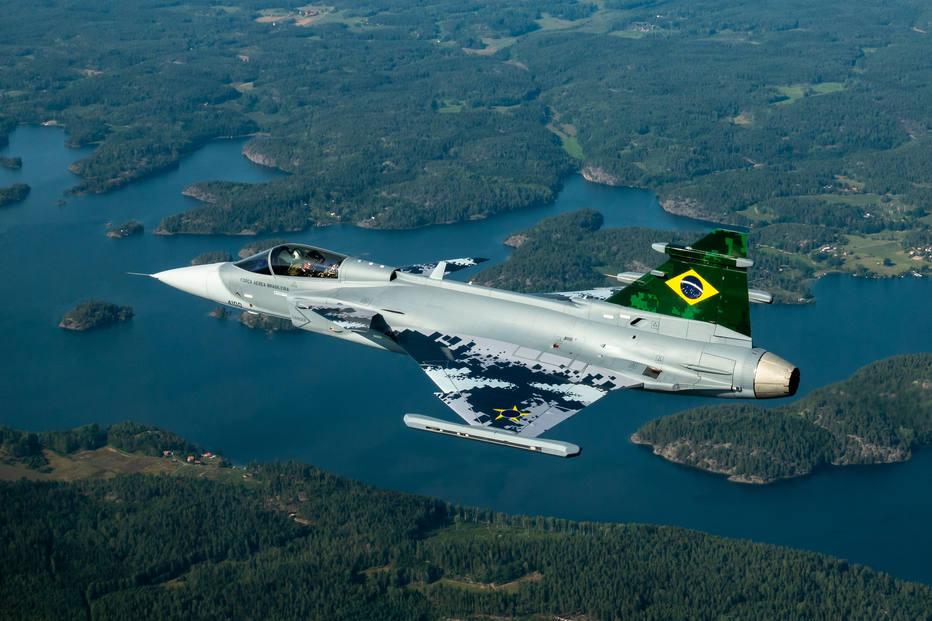 Primeiro voo do avião caça Gripen. Foto: Linus Svensson/SAAB