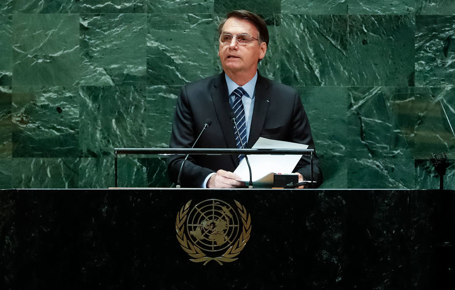 Presidente Jair Bolsonaro faz o discurso de abertura da 74ª Sessão da Assembleia Geral das Nações Unidas. Foto: Alan Santos/PR