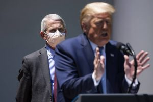 Anthony Fauci e Trump (Foto: Samuel Corum/The New York Times)