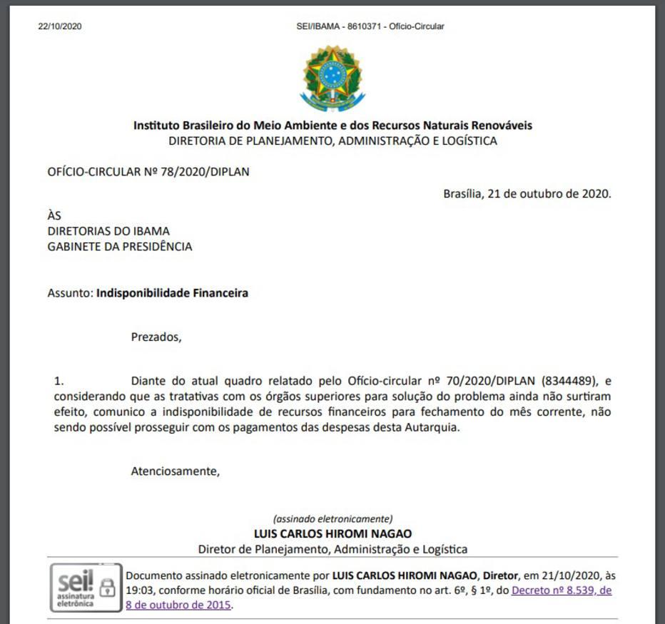 Documento determina recolhimento das brigadas. Foto: Reprodução