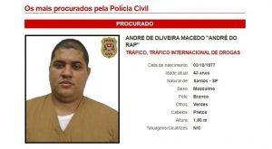 Informe da lista de mais procurados descreve caractertísticas de André do Rap. Foto: Polícia Civil/SP