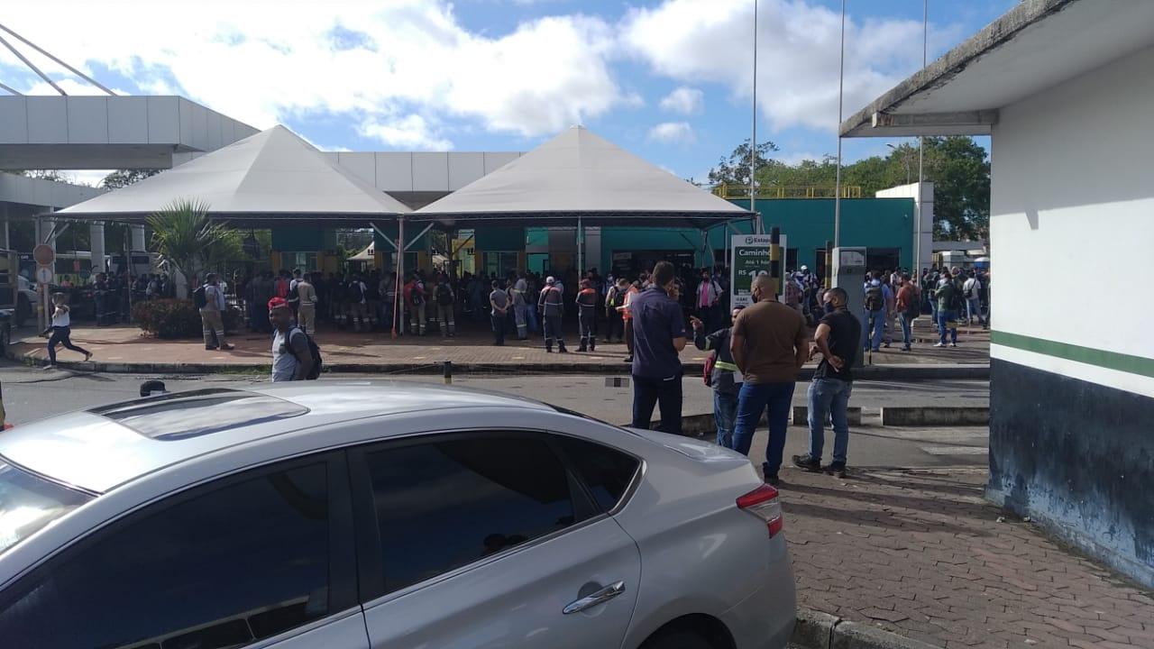 Paralisação dos metalúrgicos na entrada da Vale, em Vitória. Foto: Ouvinte BandNews FM