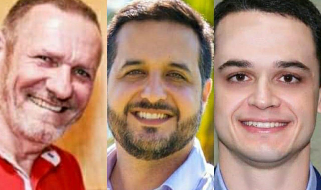 João Coser (PT), Gandini (Cidadania) e Lorenzo Pazolini (Republicanos). Foto: Reprodução/Redes Sociais