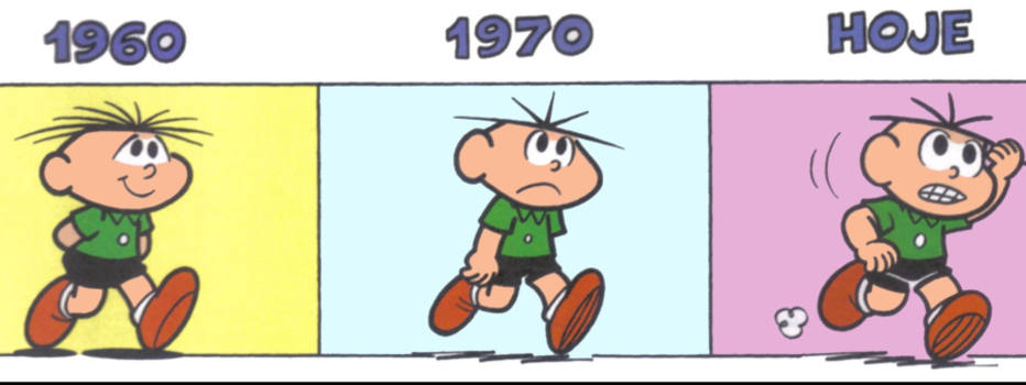 Quadrinhos mostram a evolução do Cebolinha dos anos 1960 até hoje. Foto: MSP Produções