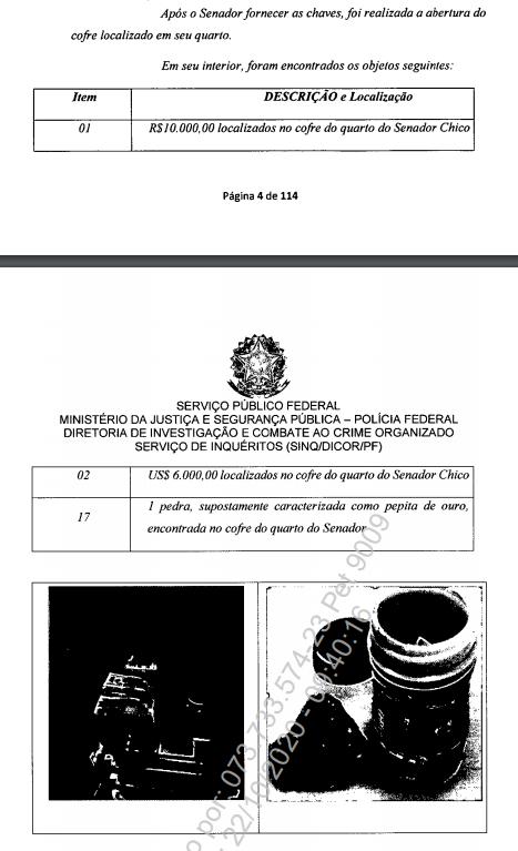 Relatório de apreensão da Polícia Federal. Foto: Polícia Federal