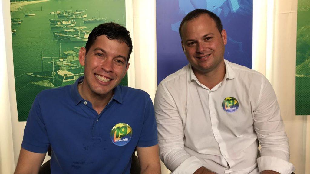 Arnaldinho Borgo (Podemos) e o vice-prefeito Victor Linhalis (Solidariedade). Foto: Divulgação