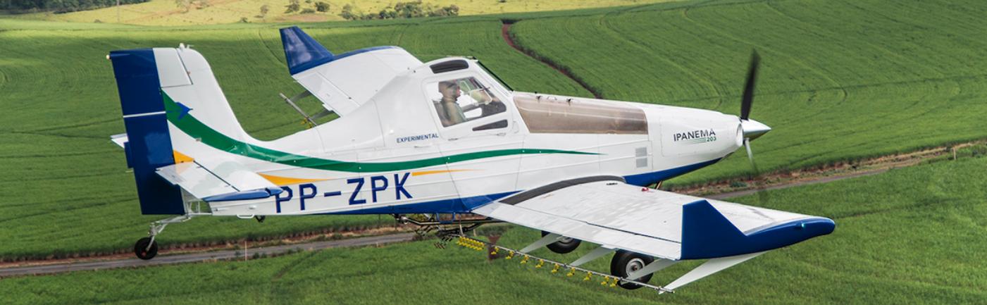 Modelo EMB-203 Ipanema utilizado como plataforma de testes no projeto. Foto: Reprodução/Embraer