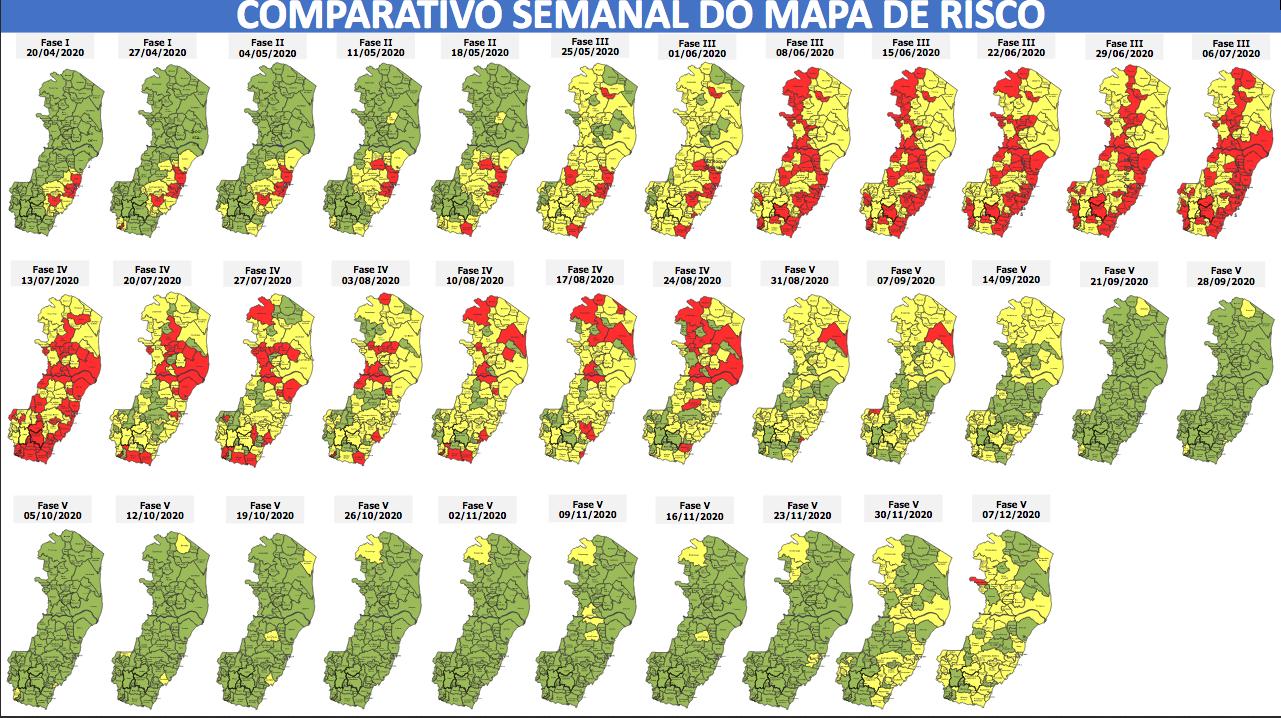 Evolução do Mapa de Risco nas últimas semanas. Foto: Reprodução