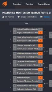 Captura de tela do site Challonge, usada para fazer a competição. Foto: Reprodução