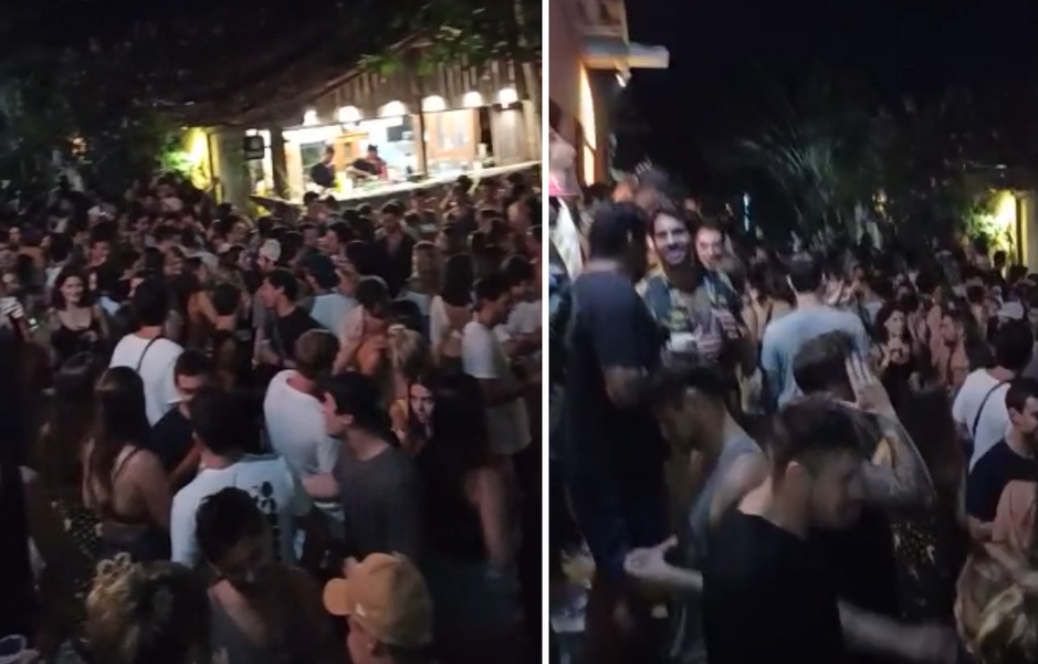 Em Caraíva, bares e supermercados não respeitam o horário de fechamento, às 23h, e mantêm as portas abertas madrugada adentro para as centenas de turistas. Foto: Reprodução
