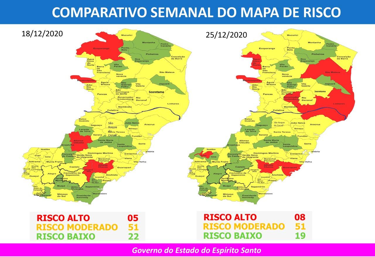 37º Mapa de Risco Covid-19. Foto: Reprodução/Governo do ES