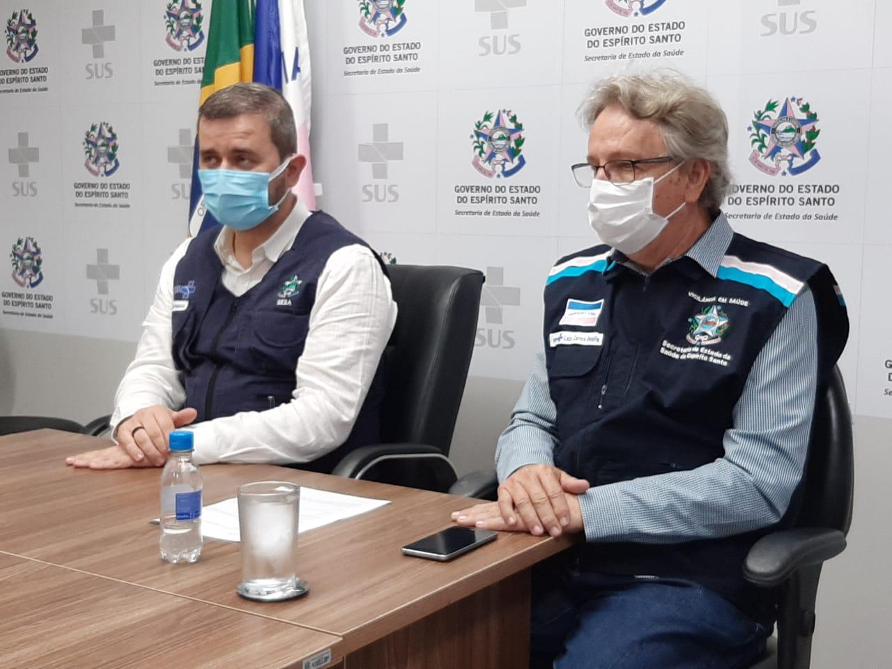 Nésio Fernandes, Secretário de Estado da Saúde; e Luiz Carlos Reblin, subsecretário de Estado de Vigilância em Saúde. Foto: Sesa