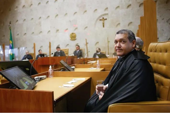 O ministro Kassio Nunes Marques durante cerimônia de posse no plenário do Supremo Tribunal Federal. Foto: Fellipe Sampaio / STF