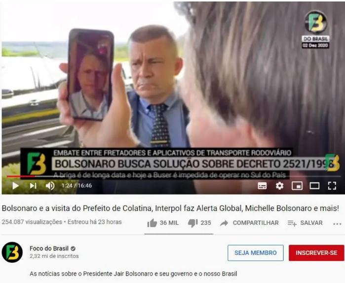 Vídeo do canal Foco do Brasil mostra o presidente Jair Bolsonaro conversando com o ministro Tarcísio Gomes de Freitas sobre aplicativos de transporte rodoviário. Foto: Reprodução/YouTube