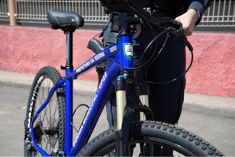 Guarda Municipal começa a usar bicicletas para reforçar patrulhamento diário na Serra. Foto: Everton Numes/Secom-PMS