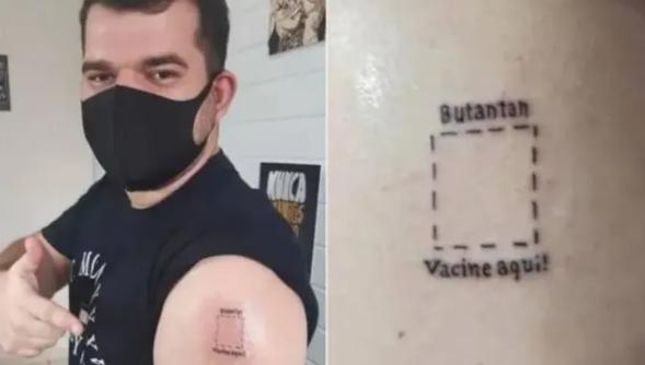 Noriel Henrique Ramos tatuou 'Butantan, vacine aqui', no seu braço esquerdo. Foto: Tiktok/ @norielhenrique