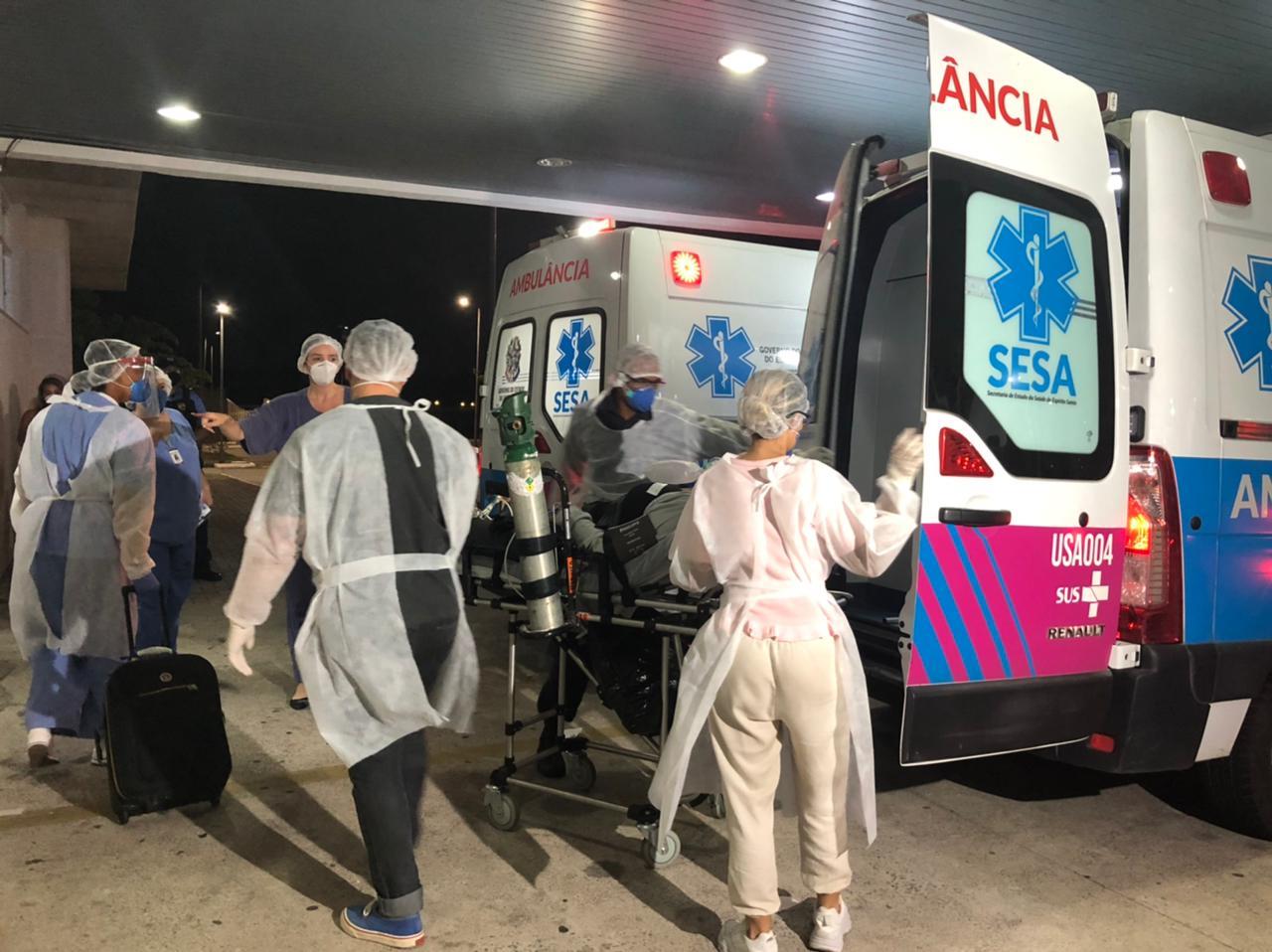 Pacientes do Amazonas com Covid-19 chegam ao ES. Foto: Comunicação/Sesa