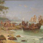 Chegada de Pedro Álvares Cabral na região de Porto Seguro (BA). Pintura de Oscar Pereira da Silva, 1904.