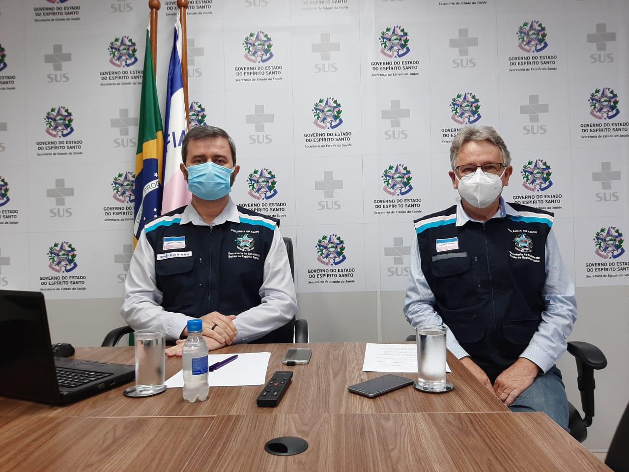 O secretário de Estado da Saúde, Nésio Fernandes, e o subsecretário de Vigilância em Saúde, Luiz Carlos Reblin. Foto: Divulgação/Sesa
