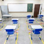 Sala de aula seguindo os protocolos de saúde em Vitória. Foto: Jansen Lube